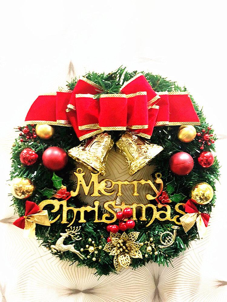 New Wreath Window Christmas Door Decoration Hanging Ornament Tree Garland Bell