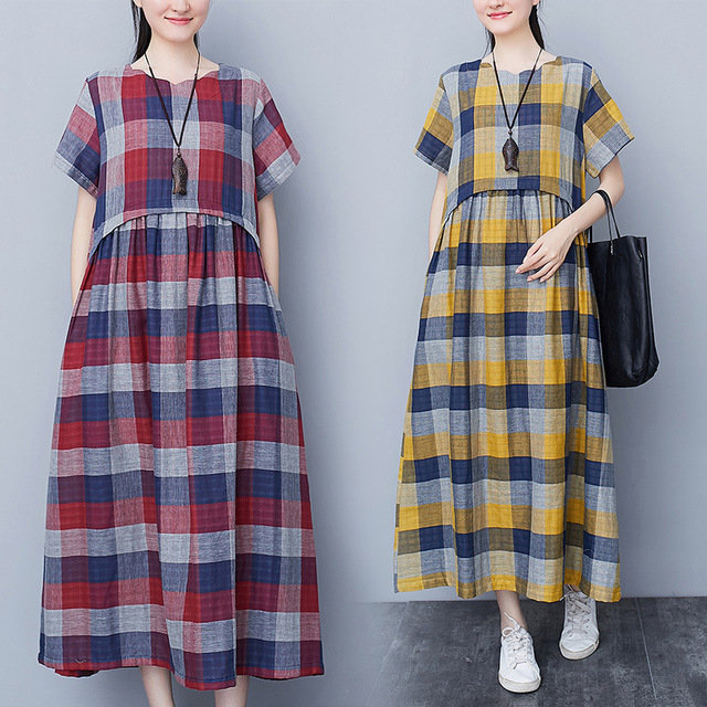 Literary_Fan_Loose_Cotton_Plaid_Shortsleeved_Pocket_Casual_Slim_Dress