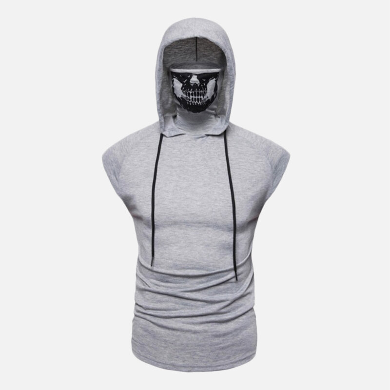 Mens Hooded Drawstring Masked High Collar Sleeveless Solid Color T-shirts