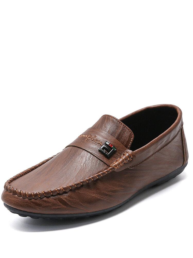 Men Brief Comfy Slip-on Round Toe Hand Stitching Shoes