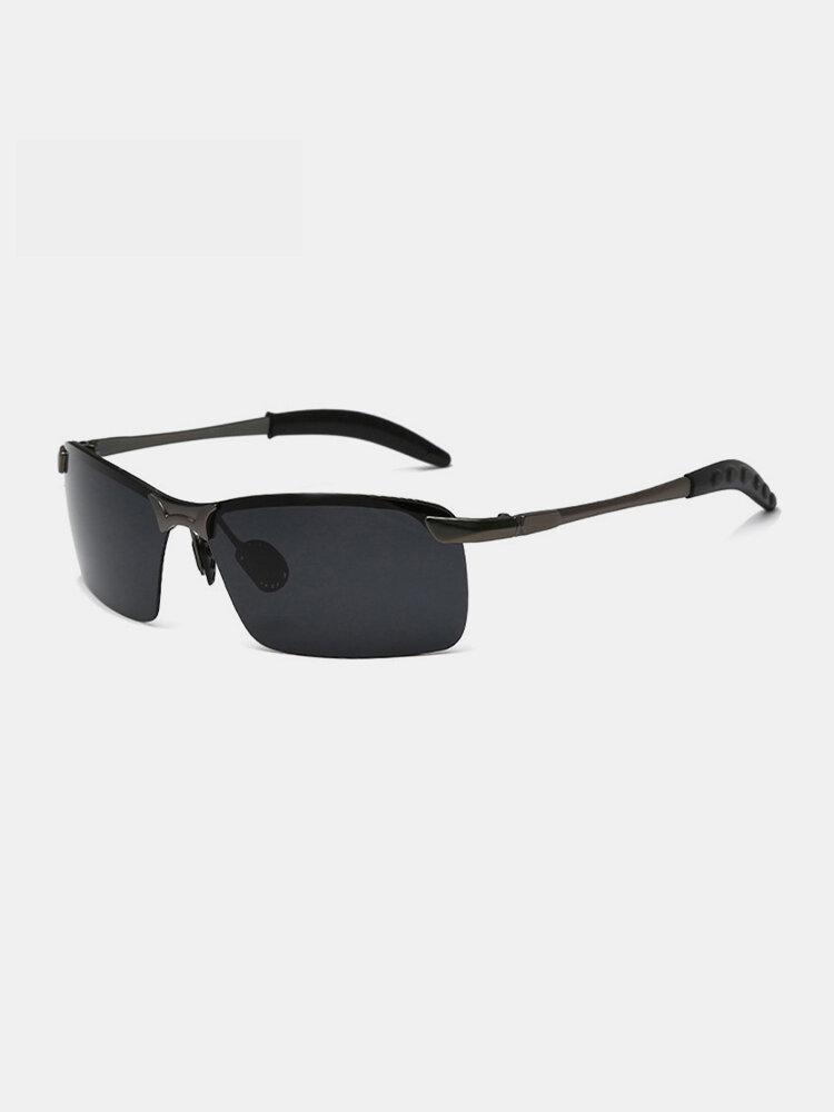 Men Metal Square Half Frame Smart Color-changing Polarized Anti-UV Sunglasses