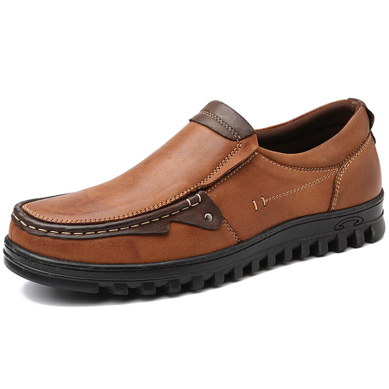 Men Leather Splicing Non Slip Slip On Soft Casual Shoes