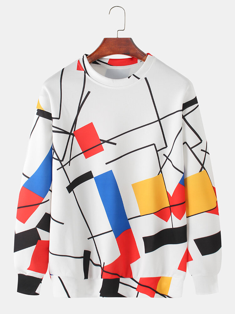 Mens Colorblock Line Print Relaxed Fit Daily Crew Neck Pullover Sweatshirt