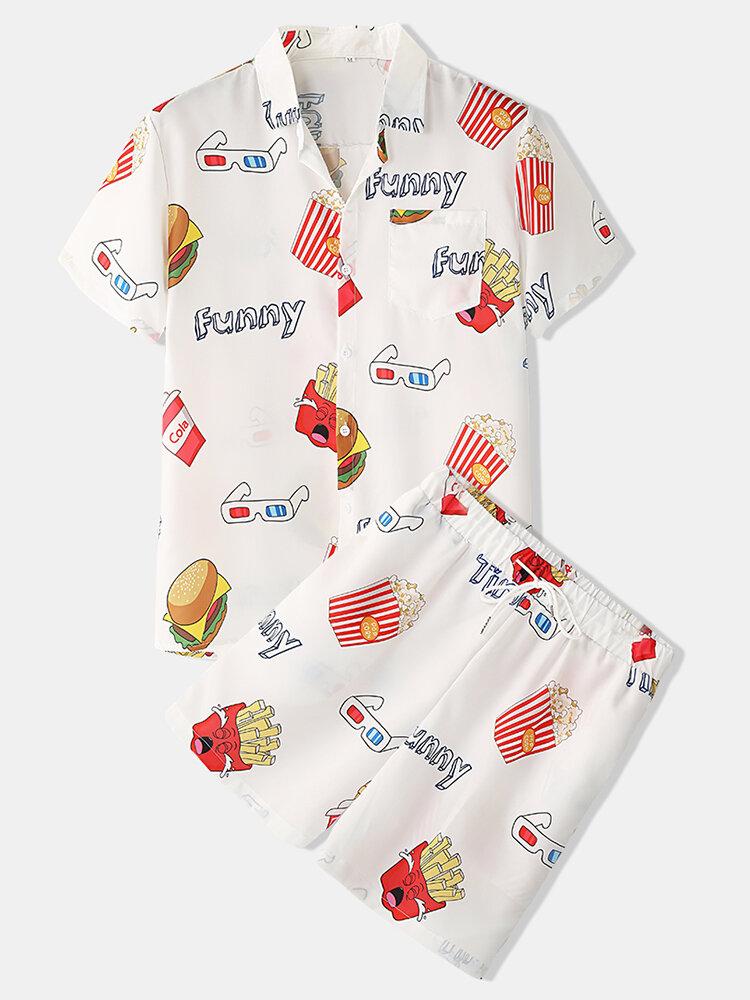 男性おかしいプリントハンバーガーラウンジウェアセット2枚襟襟半袖薄い夏のパジャマ