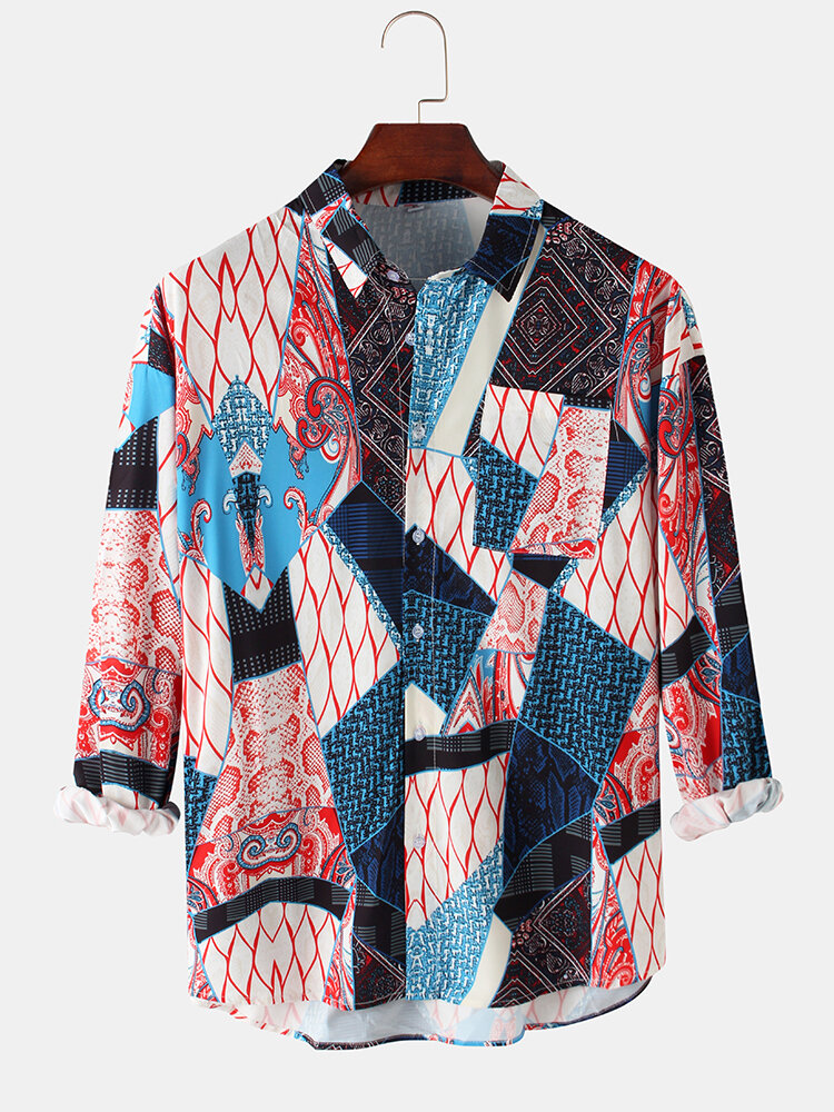 Mens Geometric Ethnic Printed Cotton Loose Casual Long Sleeve Shirts With Pocket