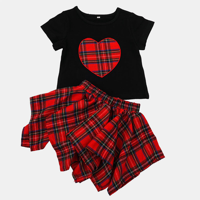 Girl's Plaid Print Short Sleeves Casual Clothing Set For 1-7Y