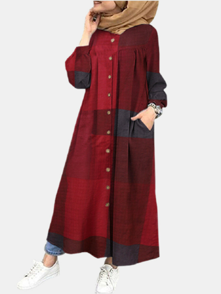 Plaid Print Long Sleeve Plus Size Button Dress with Pocket for Women