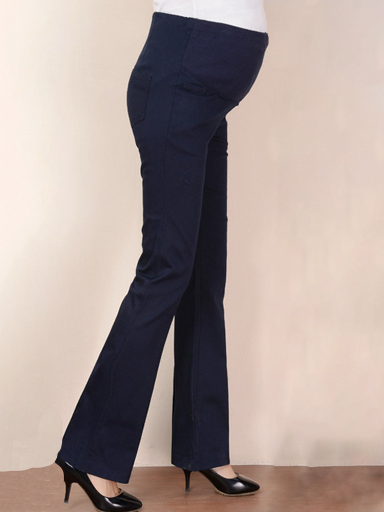 Pregnant Women Pants Maternity High Waist Flare Trousers