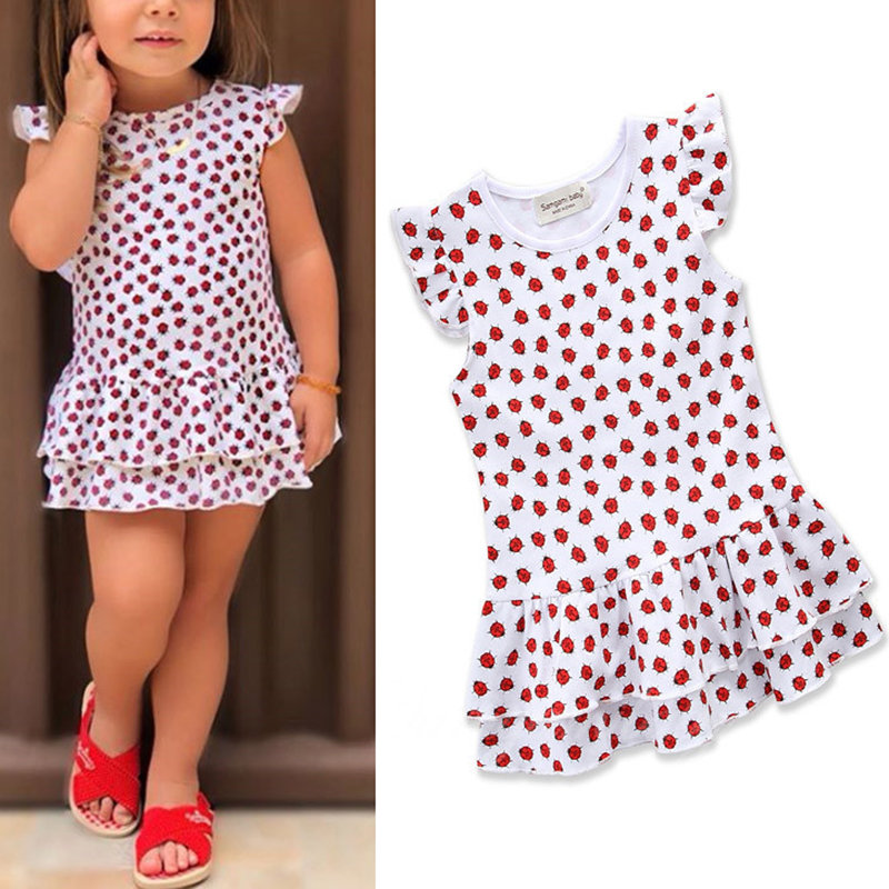 78524eda7 ... Ladybird Print Toddlers Girls Kids Sleeveless Floral Dresses Summer  Casual Clothing. Share Get Coupon