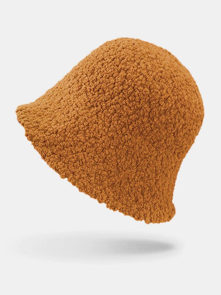 Women Lamb Wool Thick Plain Color Keep Warm Casual Fashion Sunvisor Bucket Hat