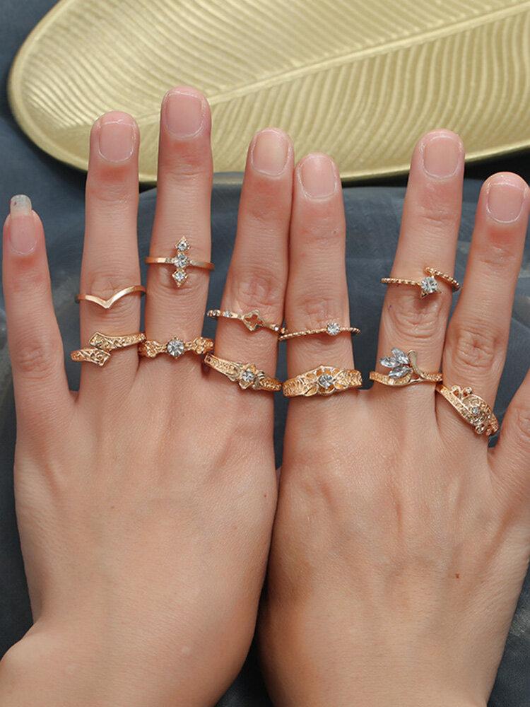 11 PCS Vintage Geometric Woven Ring Set Metal Diamond Ring Kit Ethnic Jewelry