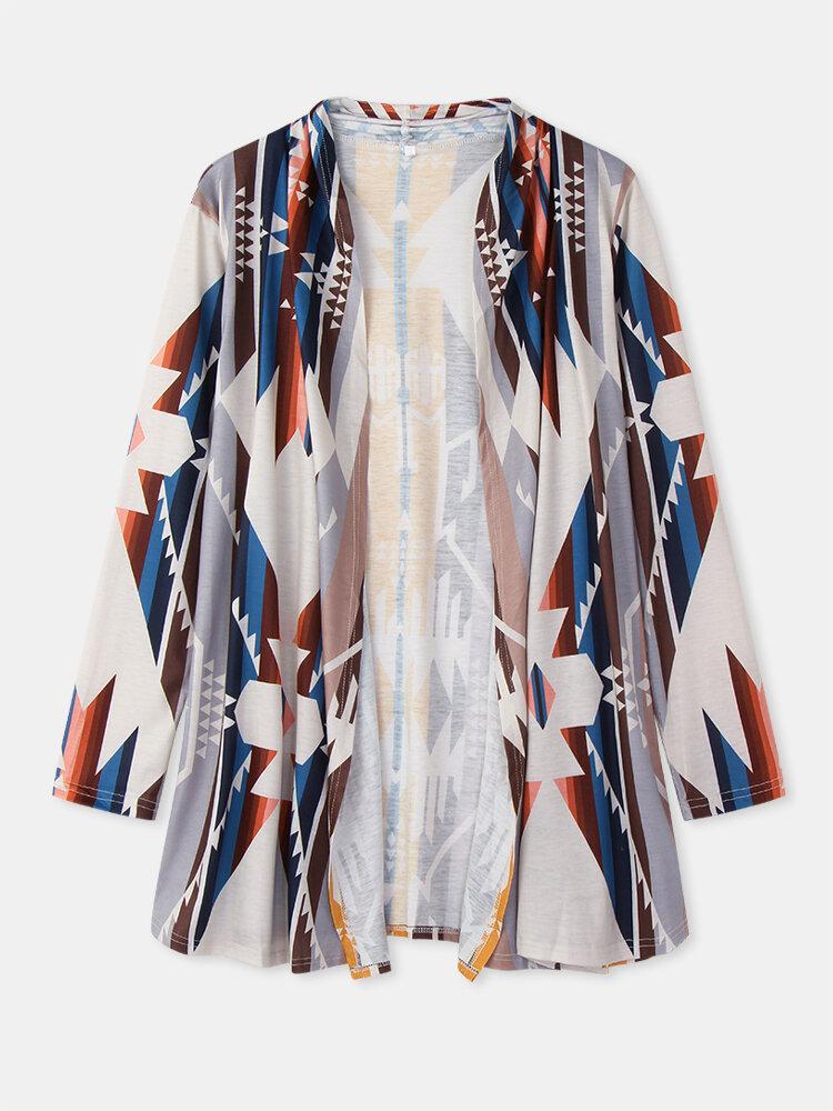 Ethnic Pattern Print Long Sleeve Casual Cardigan Coat for Women