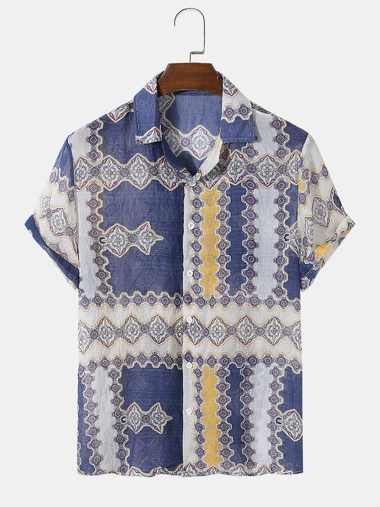 Mens All Over Ethnic Pattern Print Cotton Short Sleeve Shirts