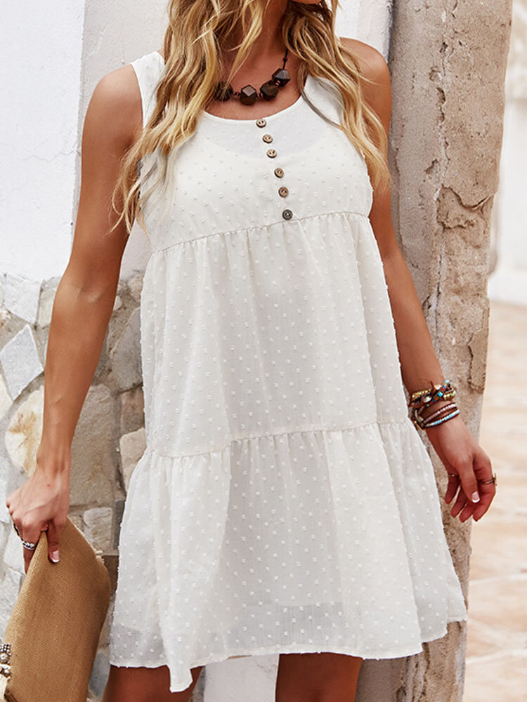 Summer Holiday Solid Color O-neck Button Sleeveless Casual Dress
