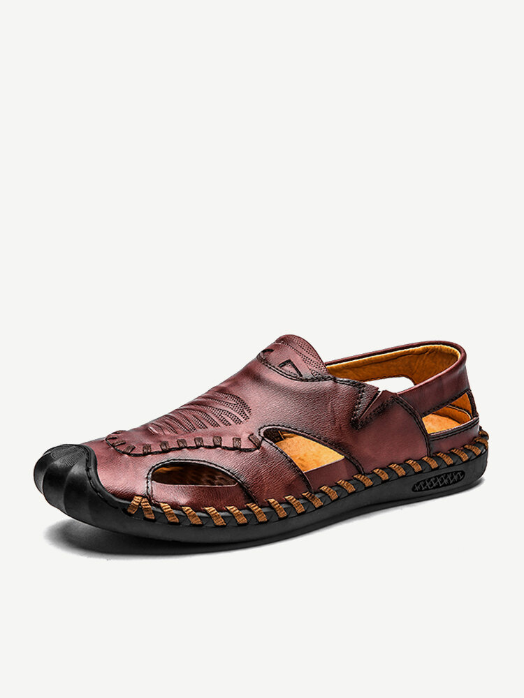 Men Outdoor Closed Toe Soft Slip Resistant Slip On Casual Leather Sandals