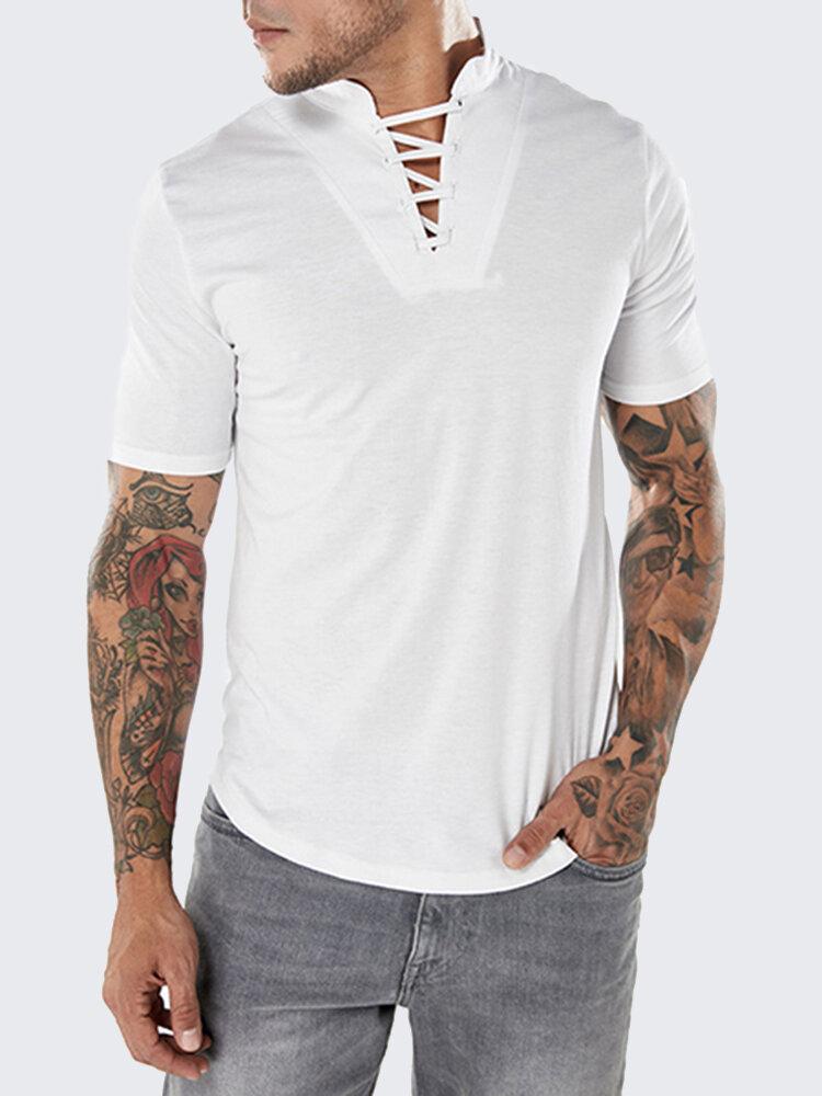 Mens Fashion Bust Bandages Tees V-neck Short Sleeve Regular Fit Casual Cotton T Shirts