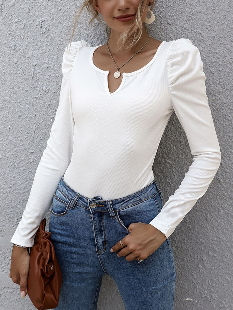 Solid Long Sleeve V-neck Casual T-shirt for Women