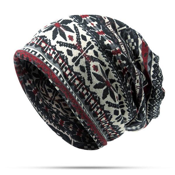 Unisex Floppy Ethnic Hat Cotton Headband Beanie Collars Hat Keep Warm Cap Dual Use Scarf