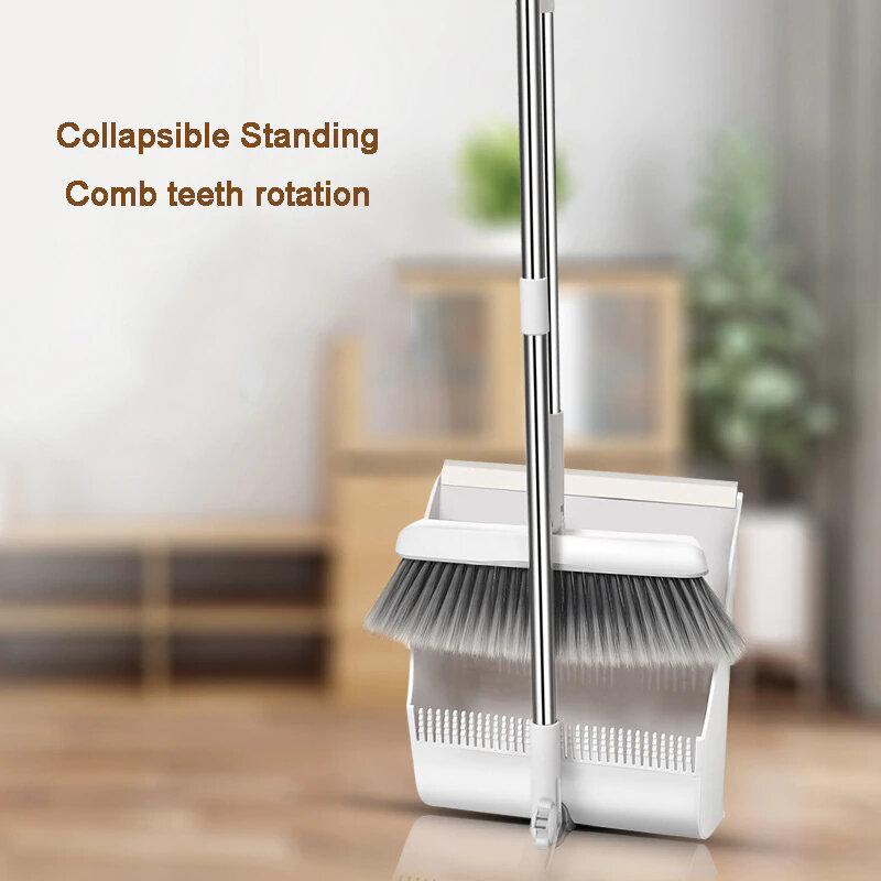 Foldable Standing Broom Dustpan Set Windproof Rotatable Adjustment Filter Hair Floor Cleaning Broom Crumb Cleaning Tools