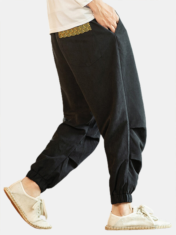 Mens Solid Color Pleated Embroidered Drawstring Waist Casual Jogger Pants