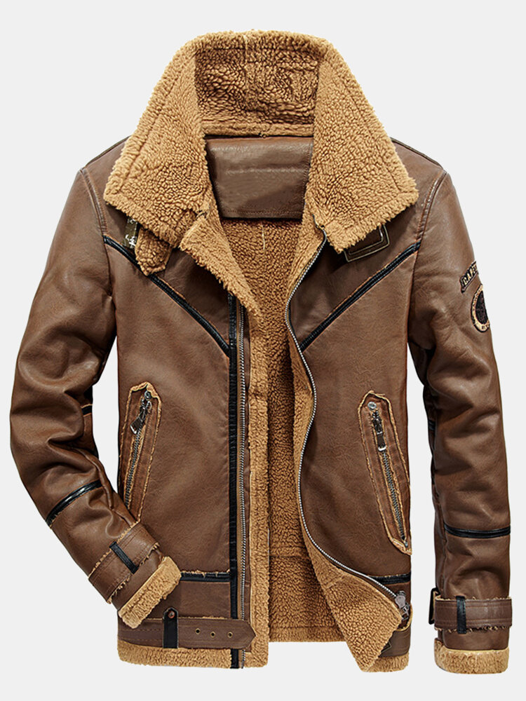 Mens Zip Front Patched Sherpa Lined Thicken PU Biker Jacket With Pocket