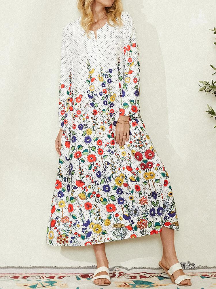 Flower Polka Dot Print Pocket Long Sleeve Dress For Women