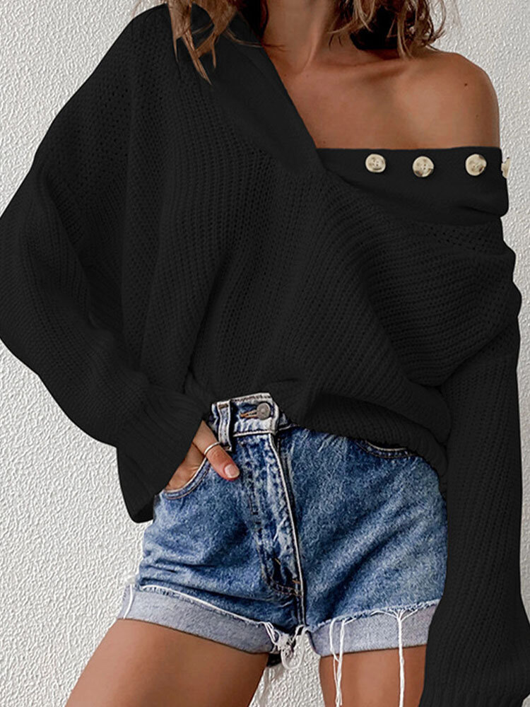 Solid Dolman Long Sleeve Button Hooded Loose Knitted Sweater