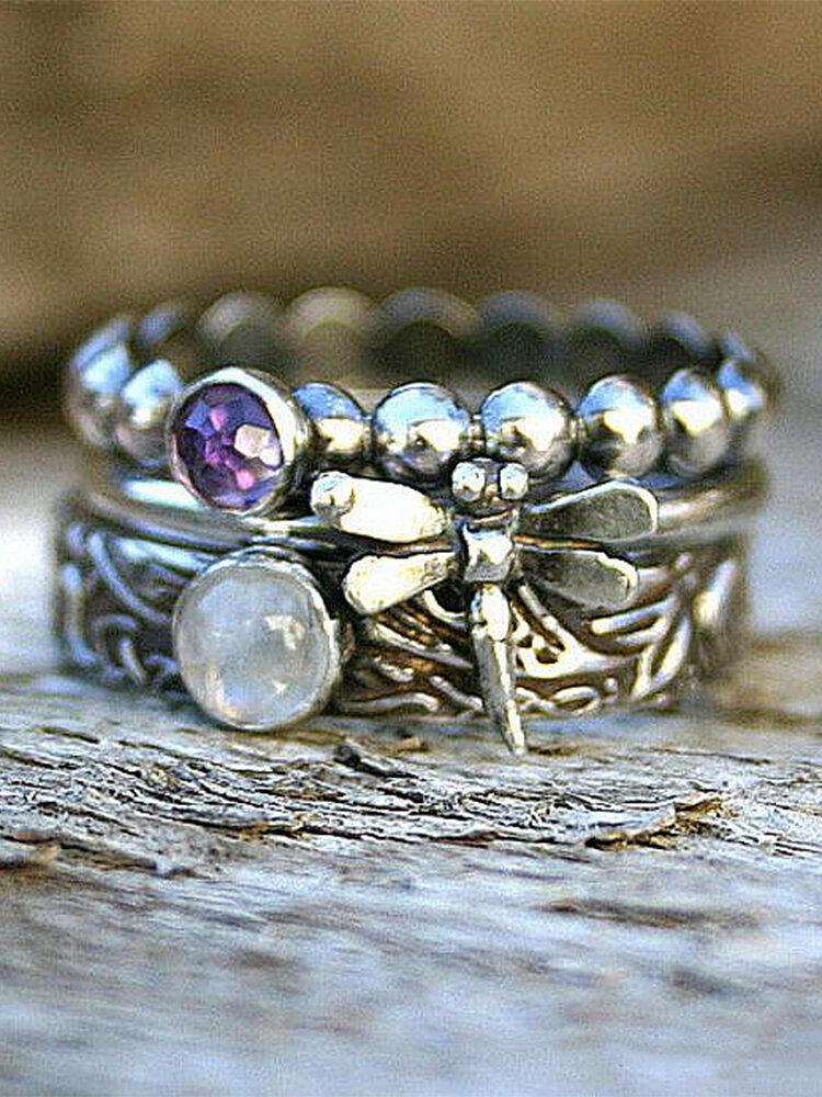 3 Pcs Vintage Dragonfly Gemstone Alloy Rings