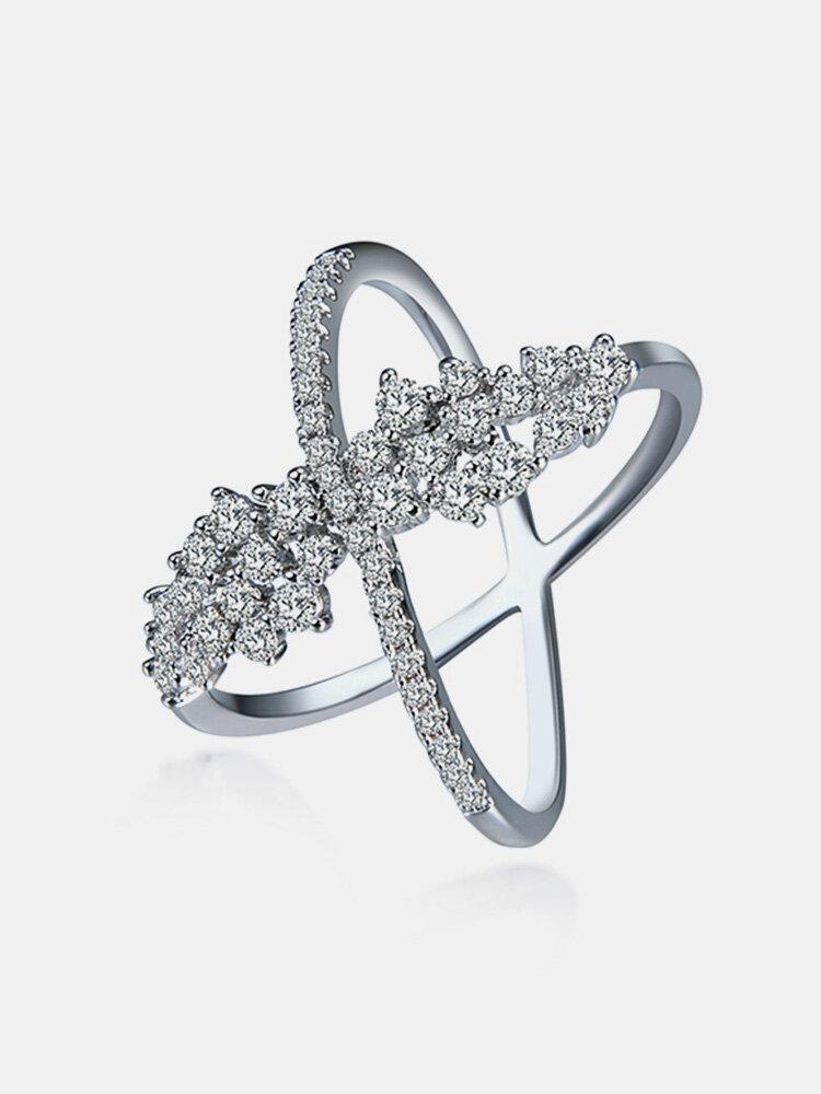 Women's Luxury Ring Cross Platinum Zircon Ring