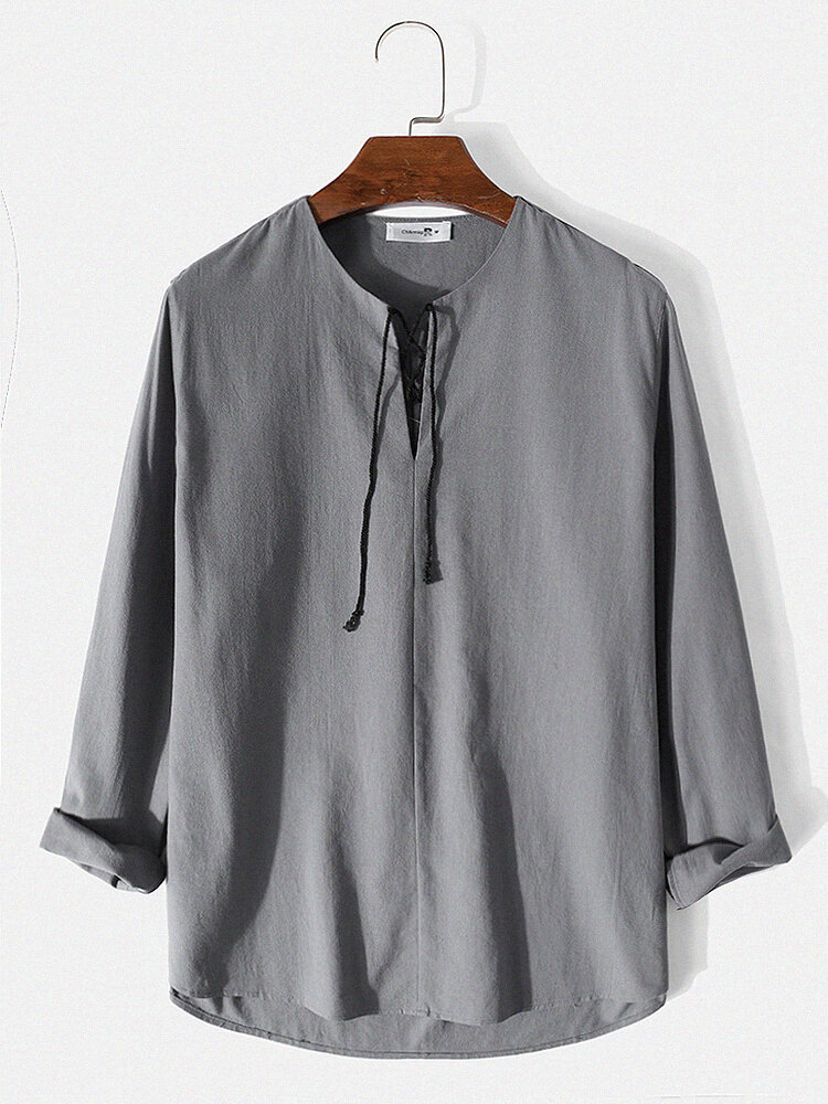 Mens 100% Cotton Solid Lace Up Side Split Casual Long Sleeve T-Shirts