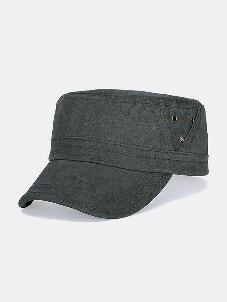 पुरुष कपास रेट्रो आउटडोर आकस्मिक सांस सैन्य टोपी पीक टोपी फ्लैट टोपी
