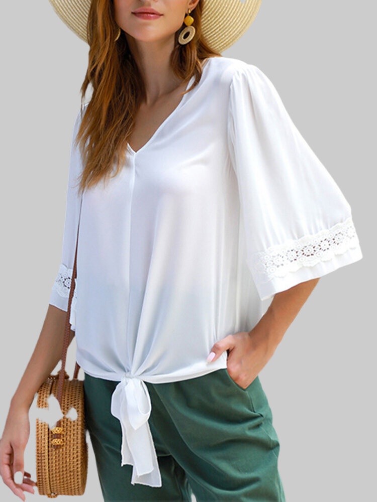 V-neck Hollow Lace Mid-sleeved Shirt Casual Loose Shirt