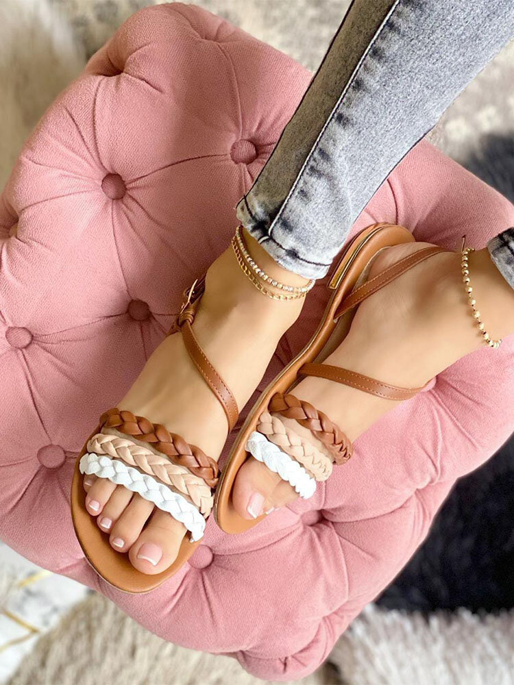 Large Size Women Casual Braided Stripe Buckle Flat Sandals