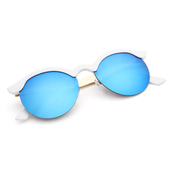 Vintage Women Round Sunglasses Half Frame Alloy Legs Colorful Glossy Glasses