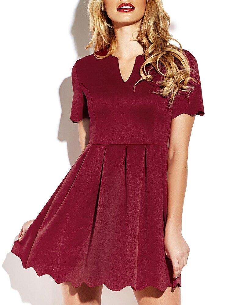 Burgundy Pleated V-neck Short Sleeve Mini Dress For Women
