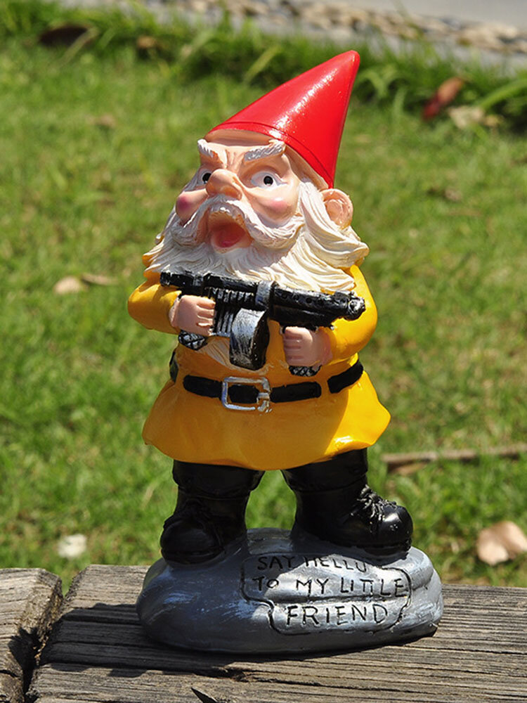 1PC Resin Gnome Dwarf White Beard Statues Holding A Machine Gun Lawn Decorations Indoor Outdoor Christmas Garden Ornament
