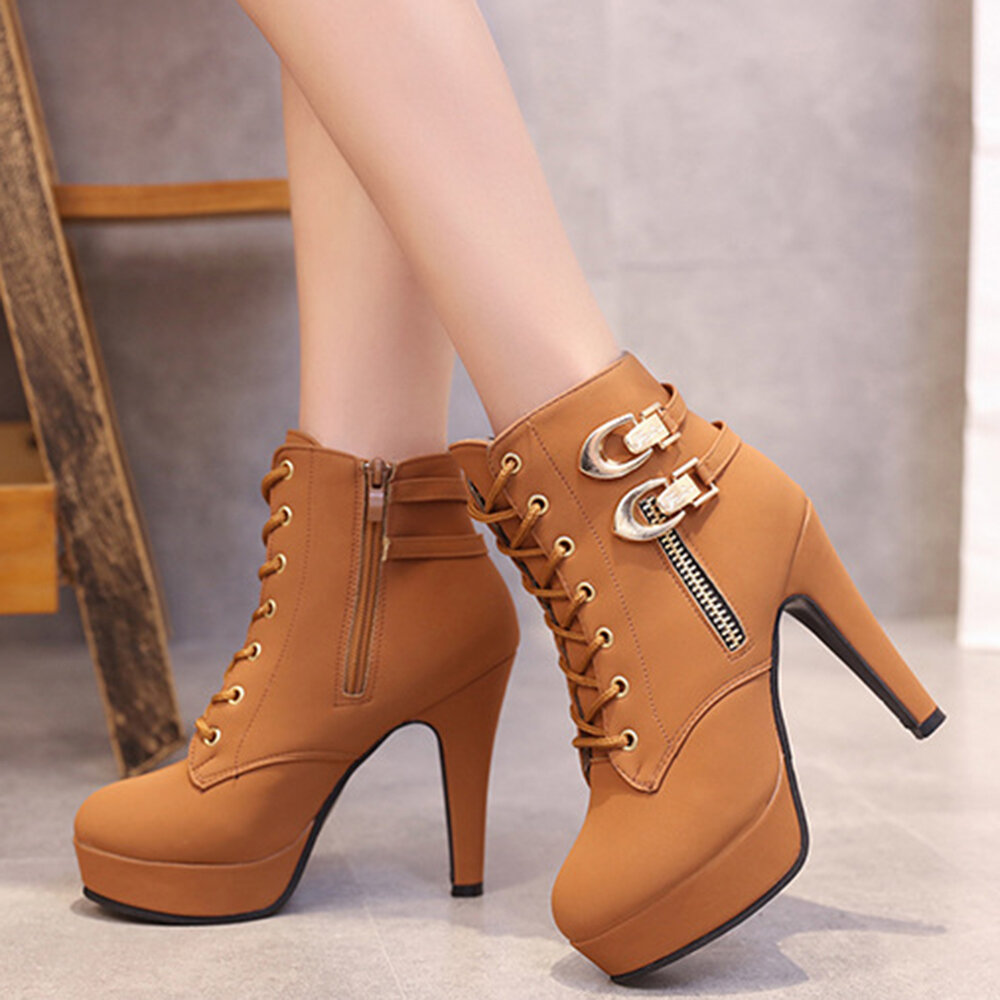 Double Buckle Stiletto Heel Boots
