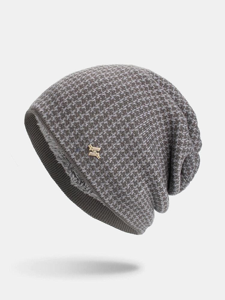 पुरुषों की शीतकालीन Plus मखमली प्लेड पैटर्न आउटडोर लंबी बुना हुआ गर्म बेनी टोपी