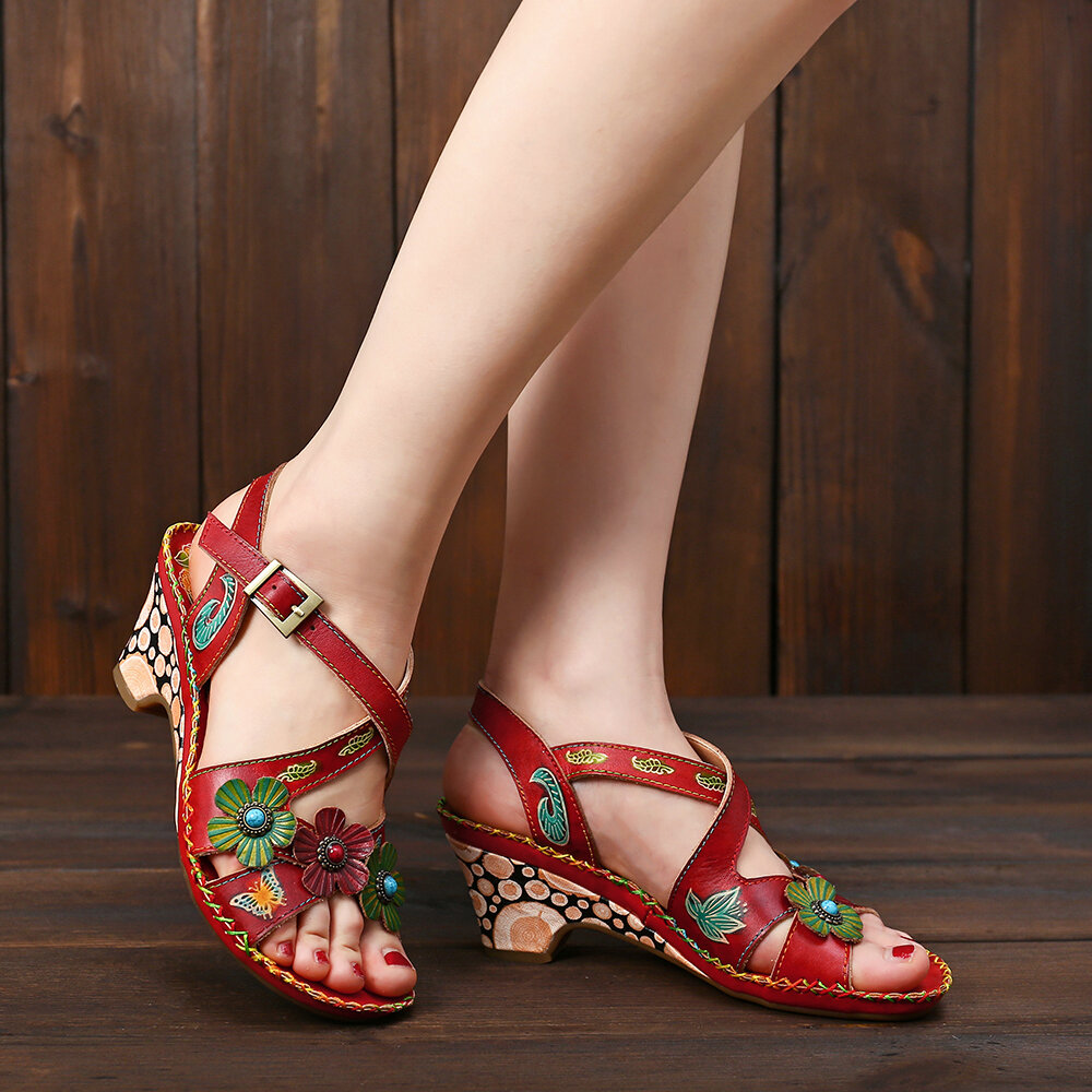 SOCOFY_Vintage_Floral_Hand_Painted_Genuine_Leather_Stitching_Soft_Buckle_Strap_Sandals