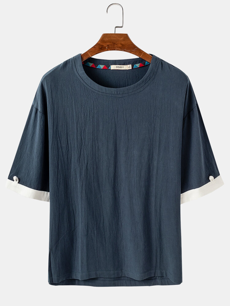 Mens Breathable Flax Casual Loose Solid Short Sleeve T-shirt