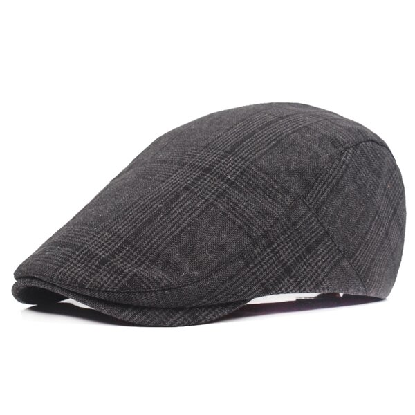 Men Women Cotton Casual Grid Beret Cap Newsboy Adjustable Beret Hat