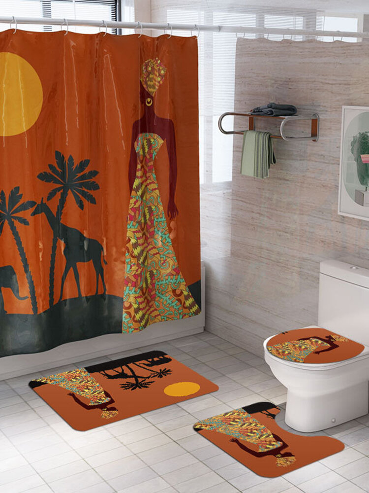 Abstract African Shower Curtain Prints Fabric Polyester Curtains For Bathroom Waterproof Bath Curtain Hooks Decoration