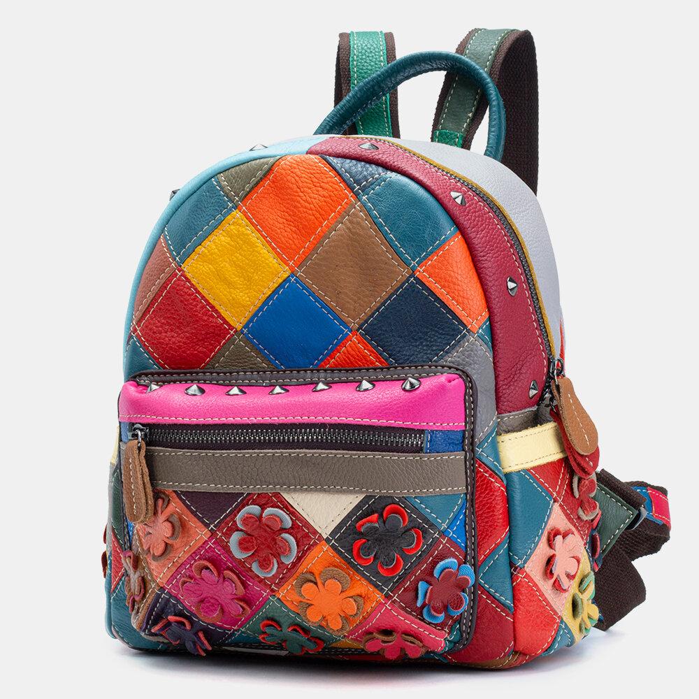 Women Genuine Leather Patchwork Rivet Backpack