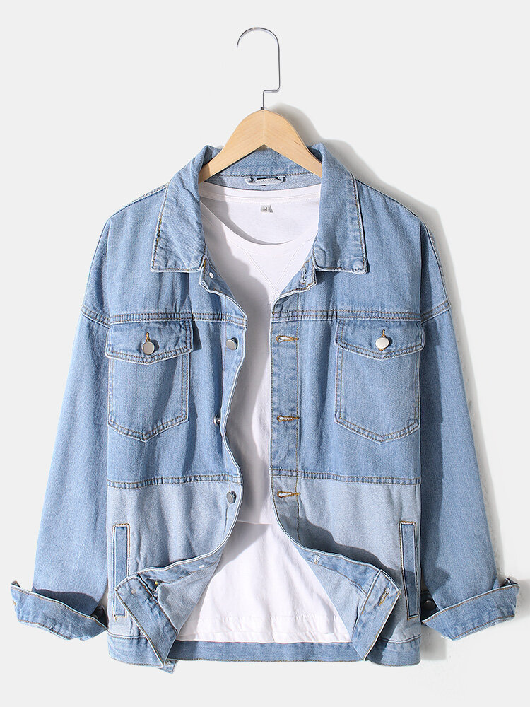 Mens Contrast Patchwork Lapel Cotton Outdoor Stylish Denim Jackets With Pocket