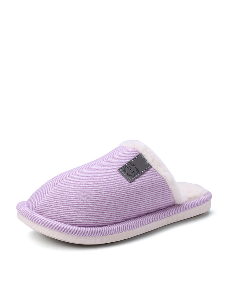 Women Casual Solid Color Closed Toe Flat Comfortable Warm Home Shoes