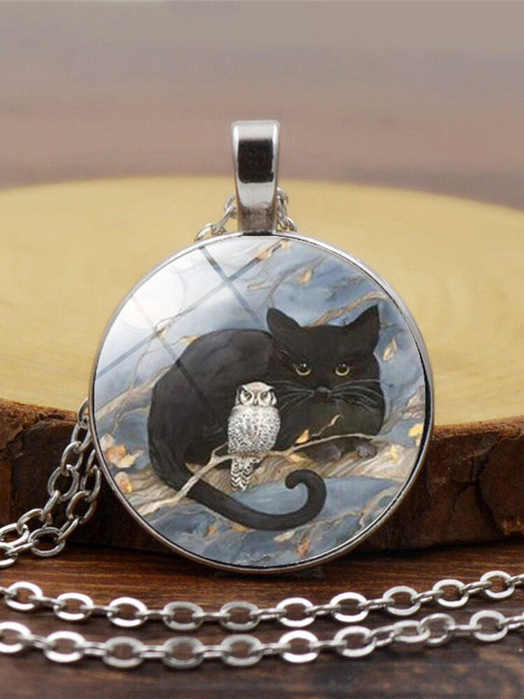 Vintage Glass Printed Women Necklace Cat Owl Pendant Necklace Jewelry Gift