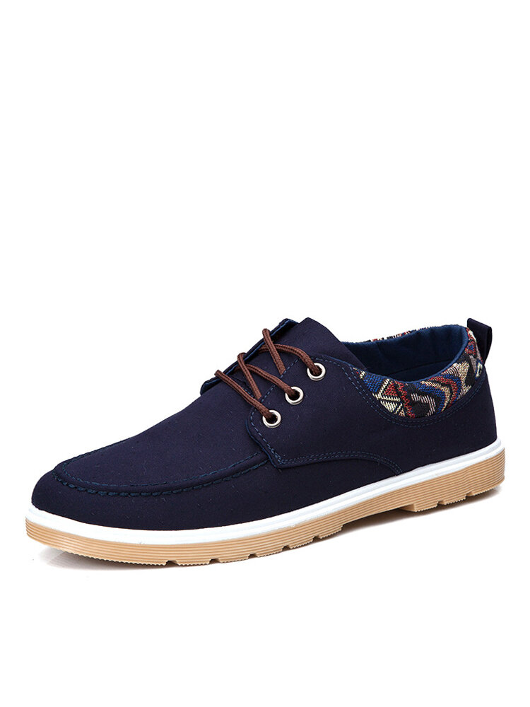 Men Daily Round Toe Lace-up Hard Wearing Casual Canvas Shoes