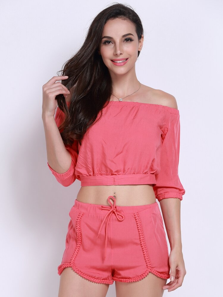 Women Bow Knot Elastic Half Sleeve Boat Neck Lace-up Suit
