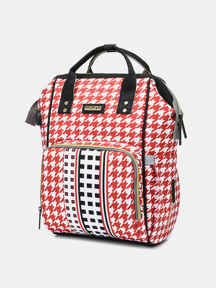 Women Patchwork Large Capacity Lattice Pattern Print Backpack Mommy Bag