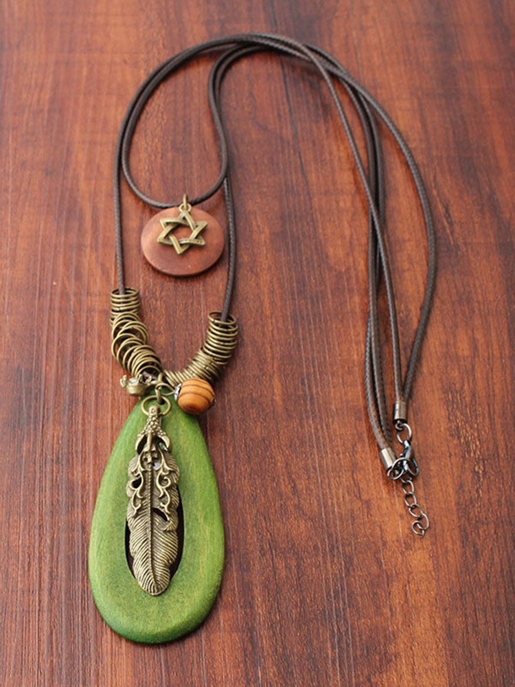 Bohemian Feather Oval Wood Pendant Necklaces Vintage Double Layer Long Sweater Necklace for Women